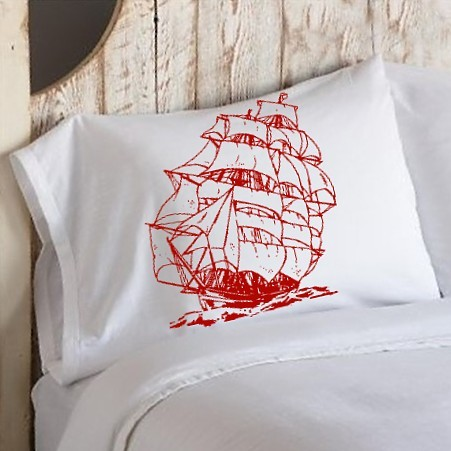 Red sail ship pillowcase
