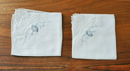Vintage Set of 2 Lovely White w/ Blue Embroirded Floral Handkerchiefs - $14.80