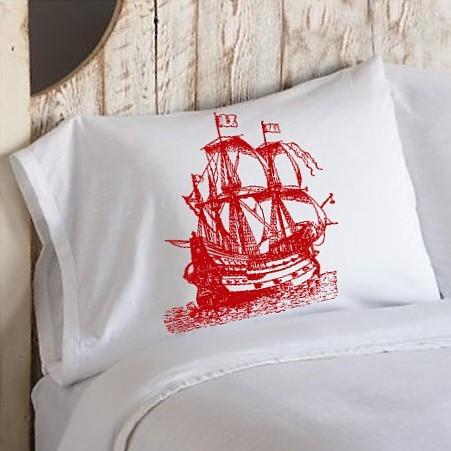 Red clipper ship pillowcase