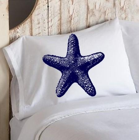 Navy blue starfish pillowcase