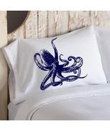 Navy Blue Octopus Ocean Beach Nautical Pillowcase cover - $11.99