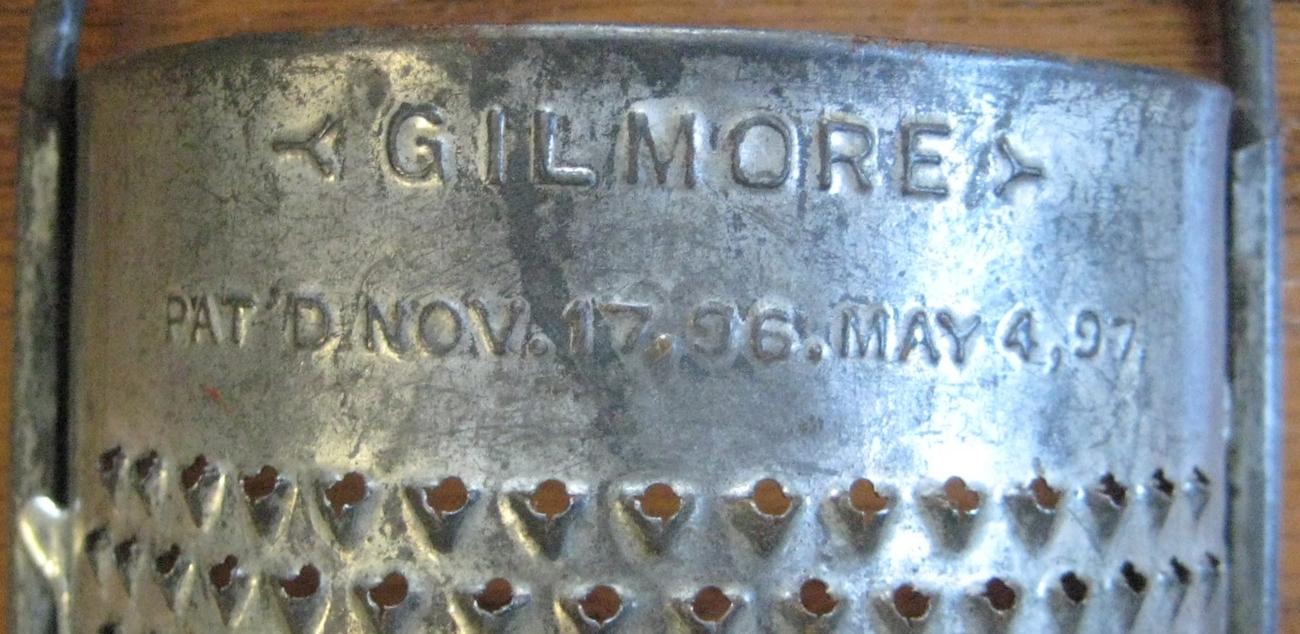 Vintage Gilmore Tin Curved Grater Shredder Patent 1890's