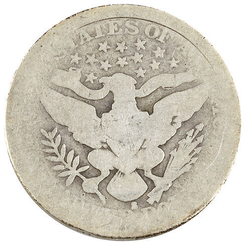 1914-S Barber Silver Quarter 25c (AG) About Good Condition image 2