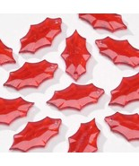Bright Red Plastic 21x12mm Christmas Craft Leaf Beads - 24 - $3.97