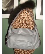 LIZ CLAIBORNE Gray Leather Slouch Hobo Handbag Purse - $39.50