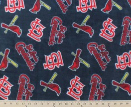 St. Saint Louis Cardinals Navy MLB Major League Baseball Print Fleece Fabric - $8.97