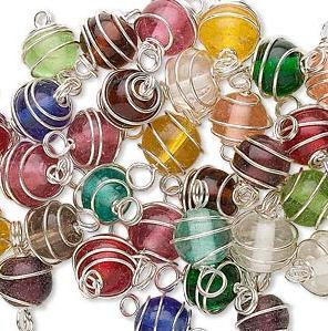 Silver-Plated 14x8mm Wire and Glass Beads - 15