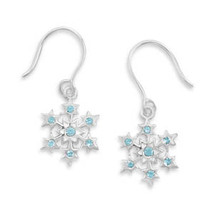 Sterling Silver Snowflake with Aqua Crystals Earrings - $29.95