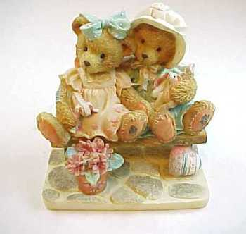 1992 Cherished Teddies Tracie and Nicole Side by Side With Friends Bear Figure