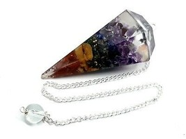 Seven Chakra Orgone 7 Orgonite REAL CRYSTAL Point Healing Dowsing Pendulum - $19.37