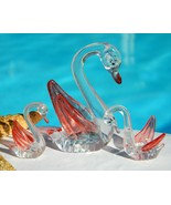 3 Vintage Swans Family Set Figurines Clear Plastic Hong Kong - $14.95