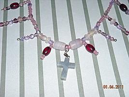 amethyst quartz cross necklace - $25.00