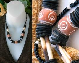 Tribal African Necklace Orange Clay Black Wood Bone Beads Ethnic Style - $24.95