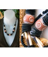 Tribal Necklace Orange Clay Black Wood Bone Beads Ethnic - $24.95