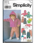 Simplicity 5316 Babies Overalls, Jacket or Vest, Pants, Knit top Hat Siz... - $11.00