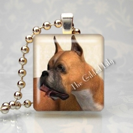 BOXER DOG BREED Scrabble Tile Altered Art Pendant Charm