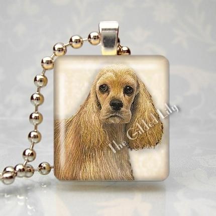 COCKER SPANIEL DOG Scrabble Tile Art Pendant Charm