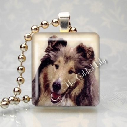 COLLIE DOG - LASSIE Scrabble Tile Art Pendant Charm