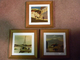 Vintage Set of 3 Framed Paintings on Tile signed JV - $75.00