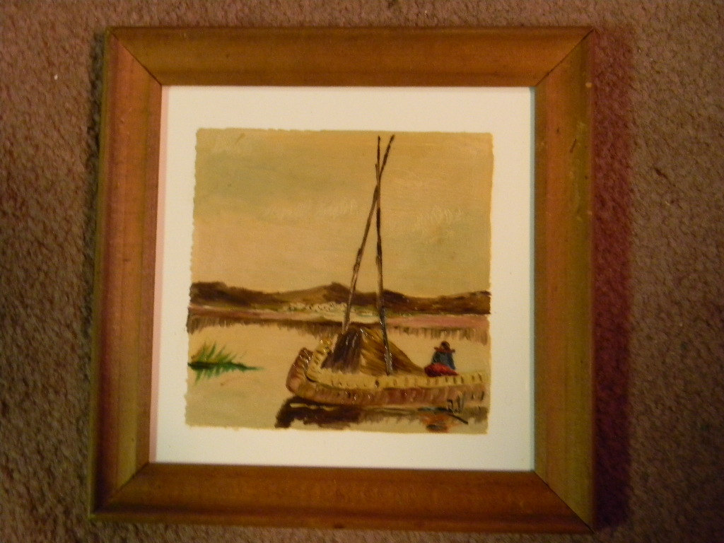 Vintage Set of 3 Framed Paintings on Tile signed JV