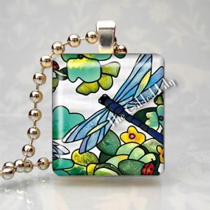 DRAGONFLY AND FLOWER Scrabble Tile Art Pendant Charm