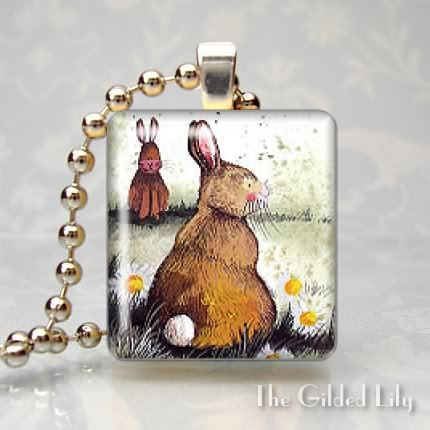BUNNY RABBIT COTTON TAIL Scrabble Tile Pendant Charm