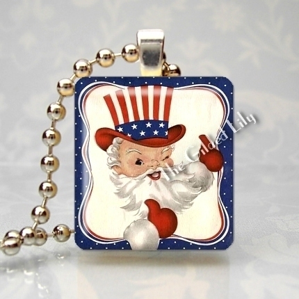 PATRIOTIC CHRISTMAS SANTA CLAUS - Scrabble Tile Pendant
