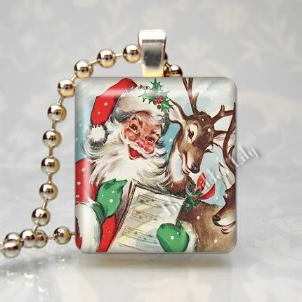 VINTAGE CHRISTMAS SANTA DEER Scrabble Tile Art Pendant