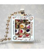 VINTAGE CHRISTMAS ORNAMENTS Scrabble Tile Art Pendant - $8.95