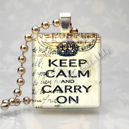 KEEP CALM AND CARRY ON - SHABBY - Scrabble Tile Pendant