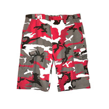 Men's Tactical Military Army Red Camo Camouflage Slim Fit Cargo Shorts - 36 image 2