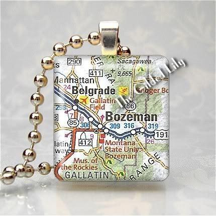 MONTANA - BOZEMAN AREA MAP Altered Art Scrabble Pendant