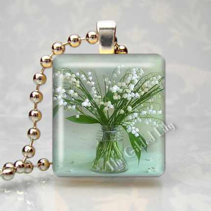 LILY OF THE VALLEY FLOWER -  Scrabble Tile Art Pendant