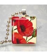 POPPY FLOWER - RED POPPIES - Scrabble Tile Pendant - $8.95