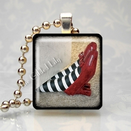 RUBY SLIPPERS - WICKED WITCH - Scrabble Tile Pendant