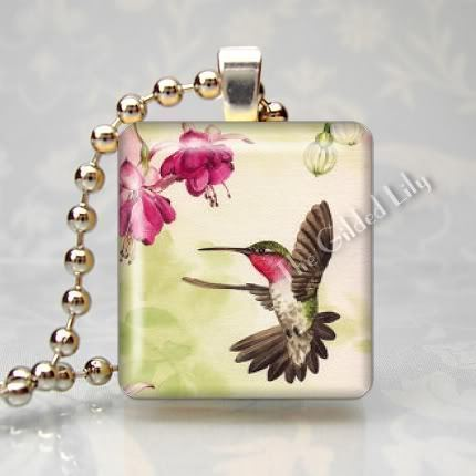 HUMMINGBIRD IN FLIGHT - Altered Art Scrabble Pendant