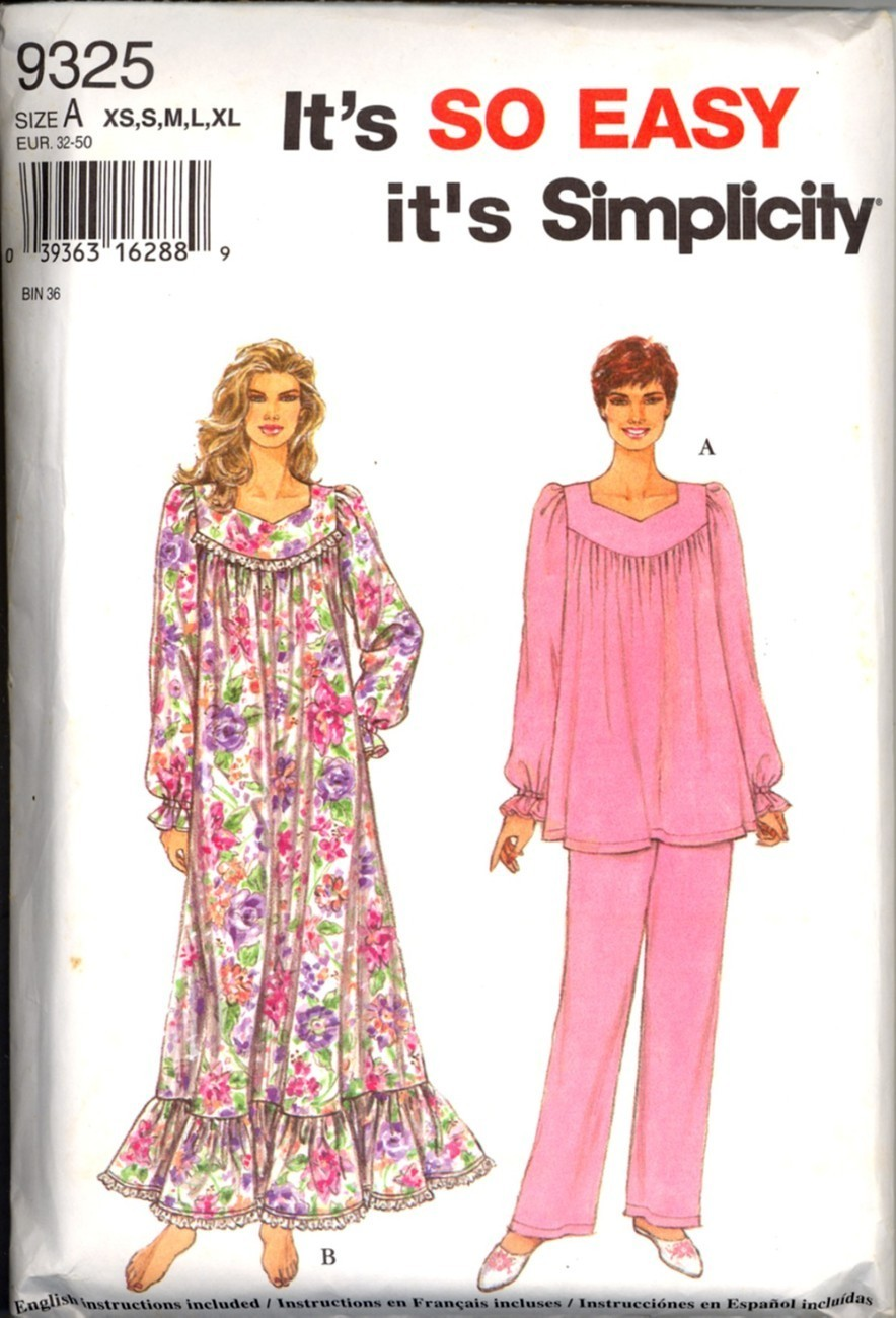 Uncut Size XS S M L XL So Easy Nightgown Pajamas Simplicity 9325 Pattern