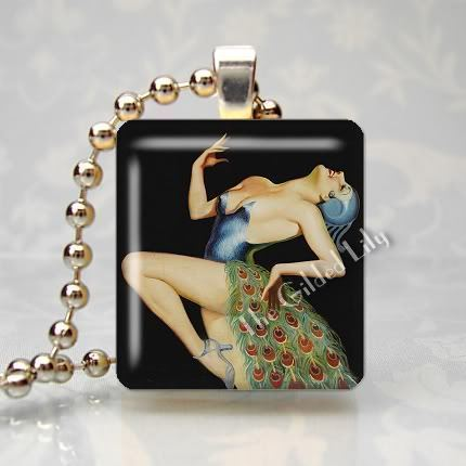 ART DECO WOMAN - PEACOCK FEATHERS - Scrabble Pendant