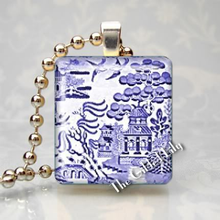 BLUE WILLOW - Altered Art Scrabble Pendant