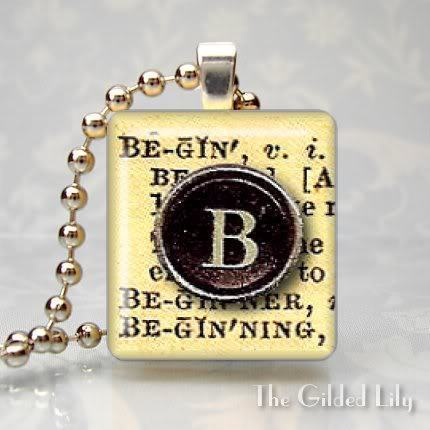 BEGIN - DICTIONARY WORD DEFINITION - Scrabble Pendant