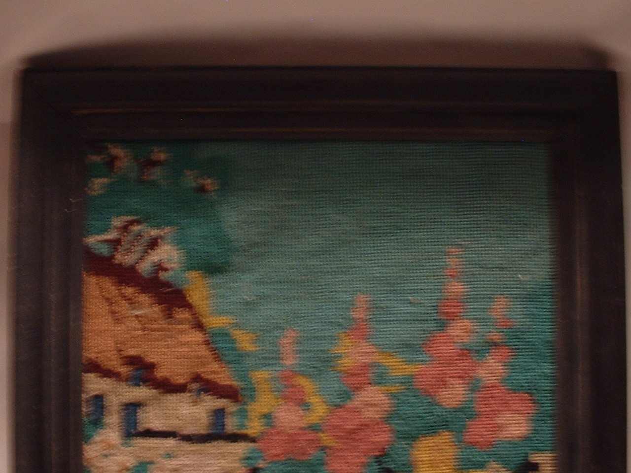 Vintage Framed Needlepoint Wall Hanging