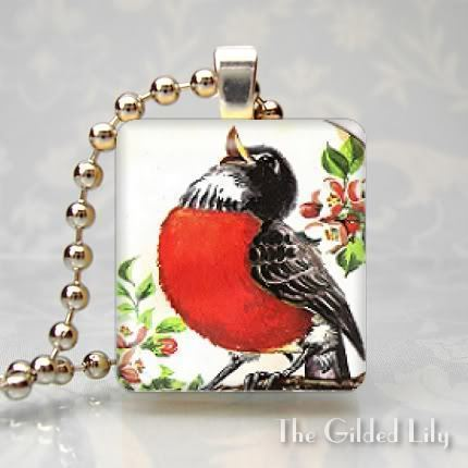 ROBIN RED BREAST BIRD - Altered Art Scrabble Pendant