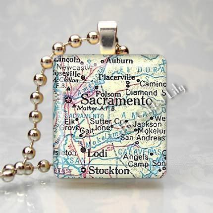 CALIFORNIA - SACRAMENTO AREA MAP Scrabble Pendant Charm