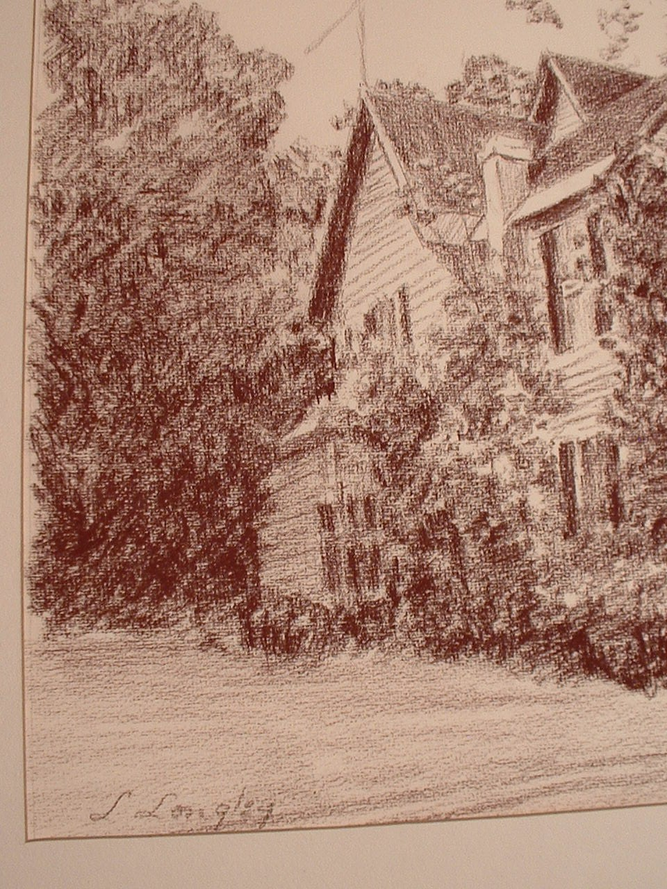 Vintage Charcoal Drawing  signed by Artist Longley