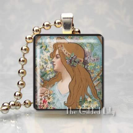 ART NOUVEAU WOMAN - Altered Art Scrabble Pendant Charm