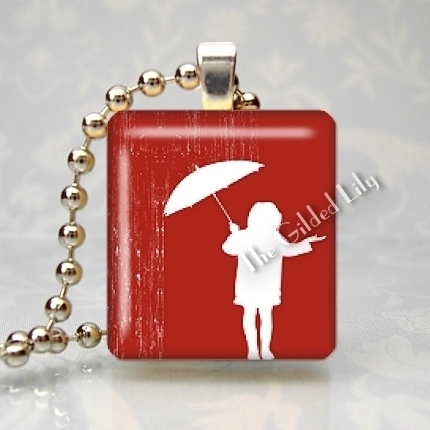 SINGING IN THE RAIN - Scrabble Tile Pendant Charm