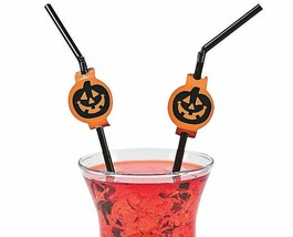 Jack-O'-Lantern Straws (24 Piece) Halloween Party Supplies & Decorations - $5.69