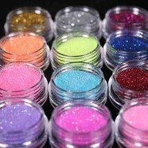 Nail Art Glitter Pots Makeup Decoration Powder Set 12 Mix Colors image 5