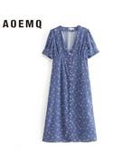 AOEMQ Summer Dresses Blue Ocean Beach Shell Sea Star Floral Print Dress ... - $23.70
