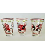 Libbey 5p Circus Theme Cocktail Drinking Glasses Red Black Elephant Clow... - $34.99